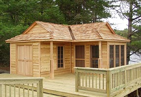 X Cabin With Screen Room Wing - Backyard cabin kits